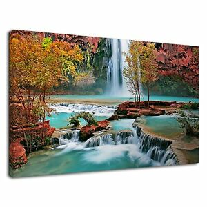 Beautiful waterfall with blue water for bedroom Canvas Wall Art Picture Print
