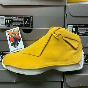 0e6881bcff1f15 Nike Air Jordan 18 Retro Yellow Suede Yellow Ochre Sail AA2494 ...