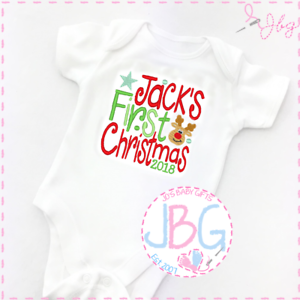 Personalised First Christmas 2018 baby vest//onsie babies first christmas gift