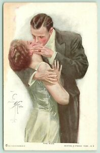 Harrison-Fisher-Romantic-Couple-034-The-Kiss-034-Elegant-Lady-amp-Gent-In-Evening-Dress