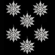 6 Weiß Schneeflocke Glitzer Weihnachten Wandbehang Baum Eiskönigin Dekorationen