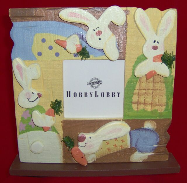 Hand Painted Wood Picture Frame Easter Bunny Rabbit Single Photo