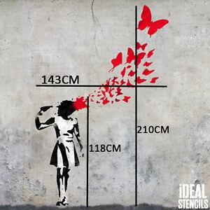 Details About Banksy Papillon Fille Suicide Pochoir Xl Vie Taille Peinture Murale