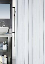 Spirella Vento Silver Textil Duschvorhang 180 x 200 cm. Silber Weiß Markenware