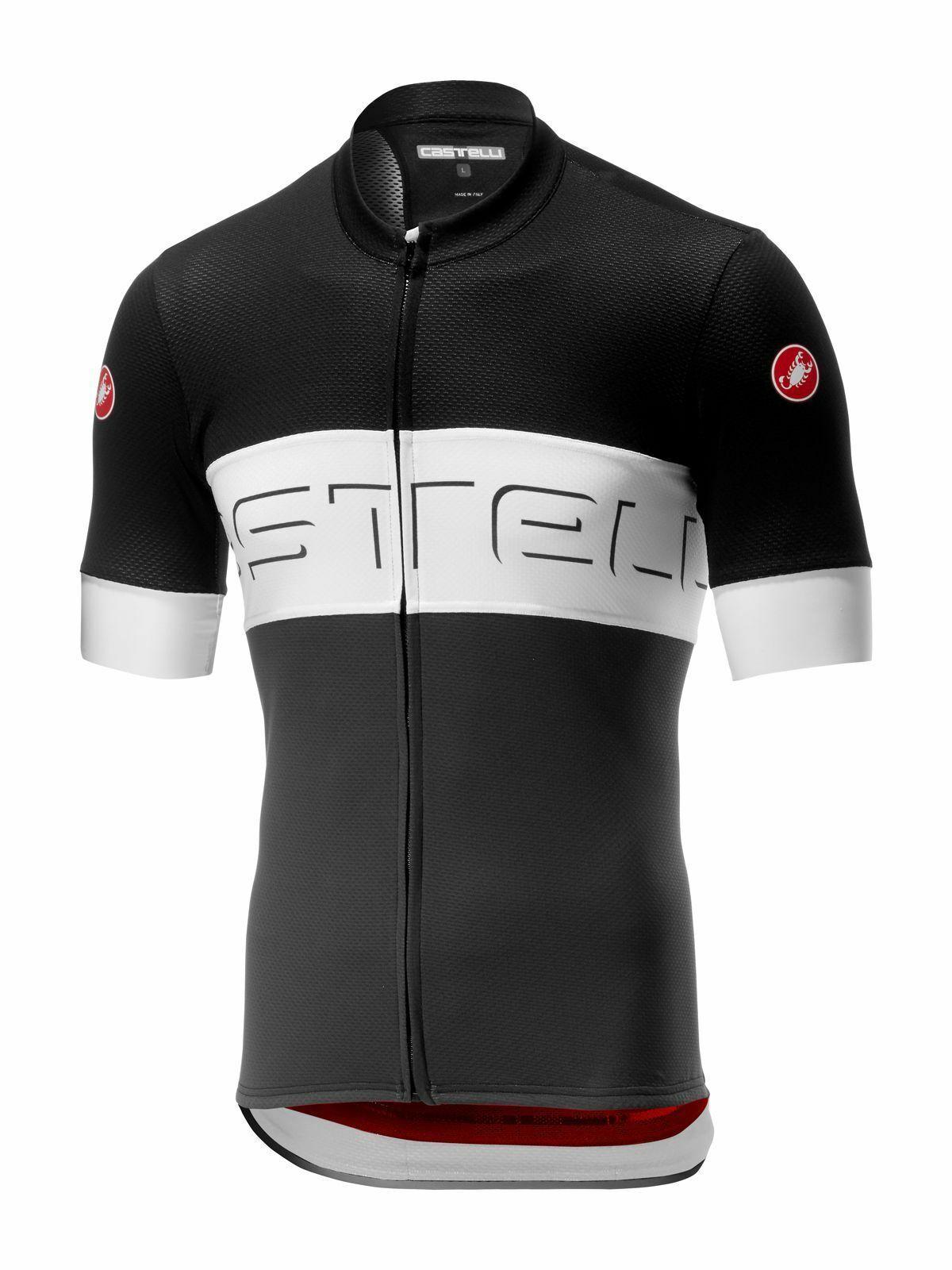 Trikot Castelli Prologo VI, Herren, schwarz-weiß, Rennrad, Marathon