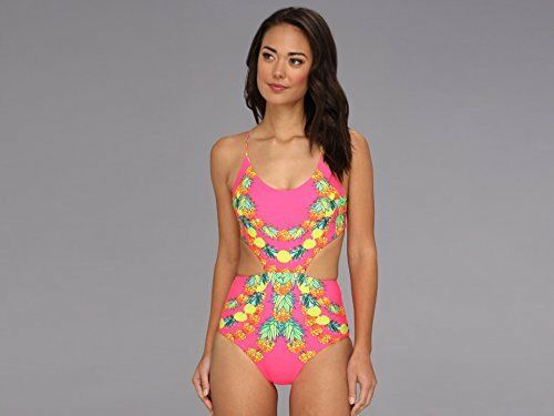 MARA HOFFMAN LACE UP GARLAND 1 PIECE MONOKINI SWIMSUIT PINK PINEAPP XSMALL  236