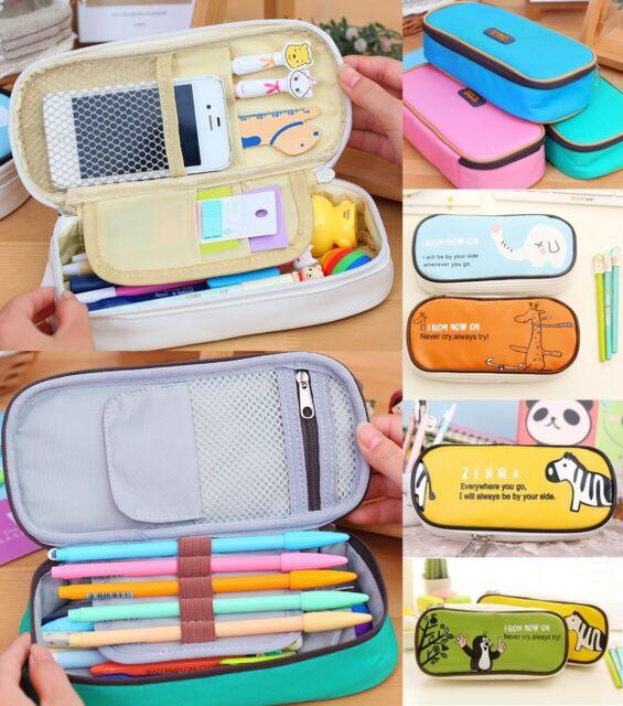 Wholesale Student's Canvas Pen Bag Pencil Case Cosmetic Bags Travel Makeup Bags