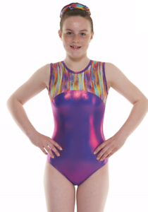 Purple Hologram Foil Girls Gymnastics Leotard Gym Dancewear Ages 4-12 Gym 54