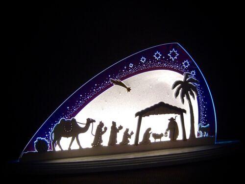 3D LED Lichterbogen Plexiglas Schwibbogen mit Holz Christi Geburt 47x22 10668