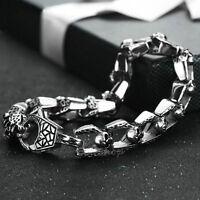 "8"" Mens Gothic Skulls Chain Link 316L Stainless Steel Bracelet Silver Punk Biker"