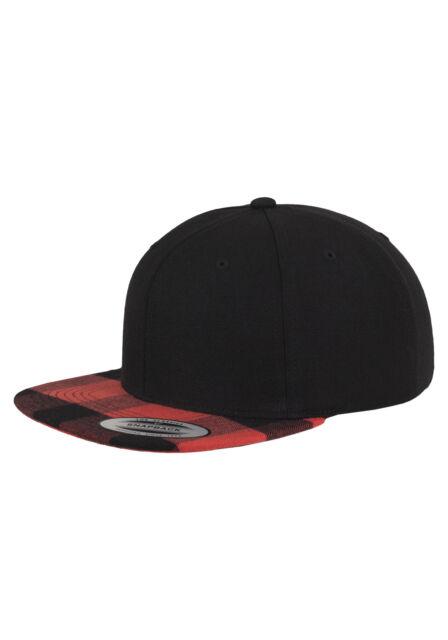 Flexfit franela a cuadros pico gorra SnapBack Negra-roja  18be4b95376