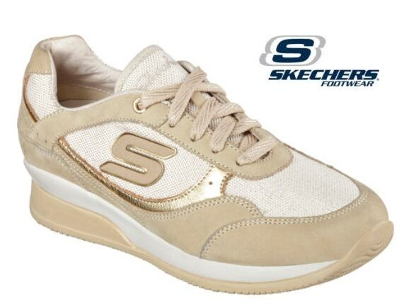 Skechers Wedge Turnschuhe Fit Vita Metallic Metallic Metallic Gym Designer Gold Casual Trainers 6696a6