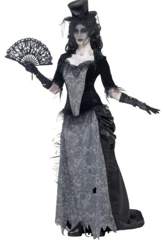 Ladies Wild West Widow Ghost Town Saloon Girl Halloween Fancy Dress Costume 8-18