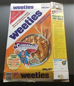 Vintage Nabisco Weeties Cereal Box Kenner Super Powers Game Superman Quest 1980s