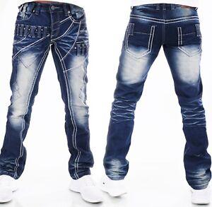 Süß GehäRtet Highness Herren Jeans Hose Loose Fit Men´s Wear Patches Nieten Waschung Hn-611 Kleidung & Accessoires