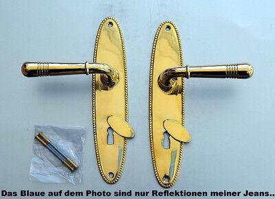 Luxusgriffe Antik Messing Tür Griffe Türgriffe Langschild BB Biedermeier S84-1P