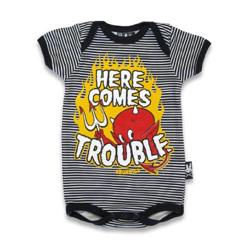 Here Comes Trouble Six Bunnies Short Sleeved Babygrow