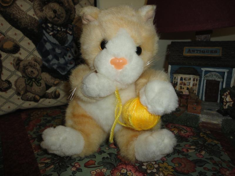 Calico Kitten Cat with Ball of Yarn Stuffed Plush Cute
