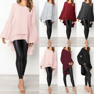 ZANZEA-Women-039-s-Long-Sleeve-Double-Layer-Shirt-Tops-Asymmetrical-High-Low-Blouse