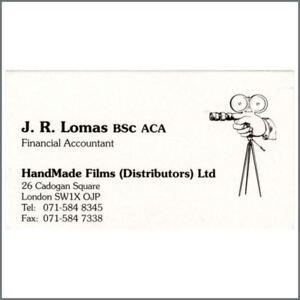 The Beatles George Harrison Handmade Films Business Card Uk Ebay