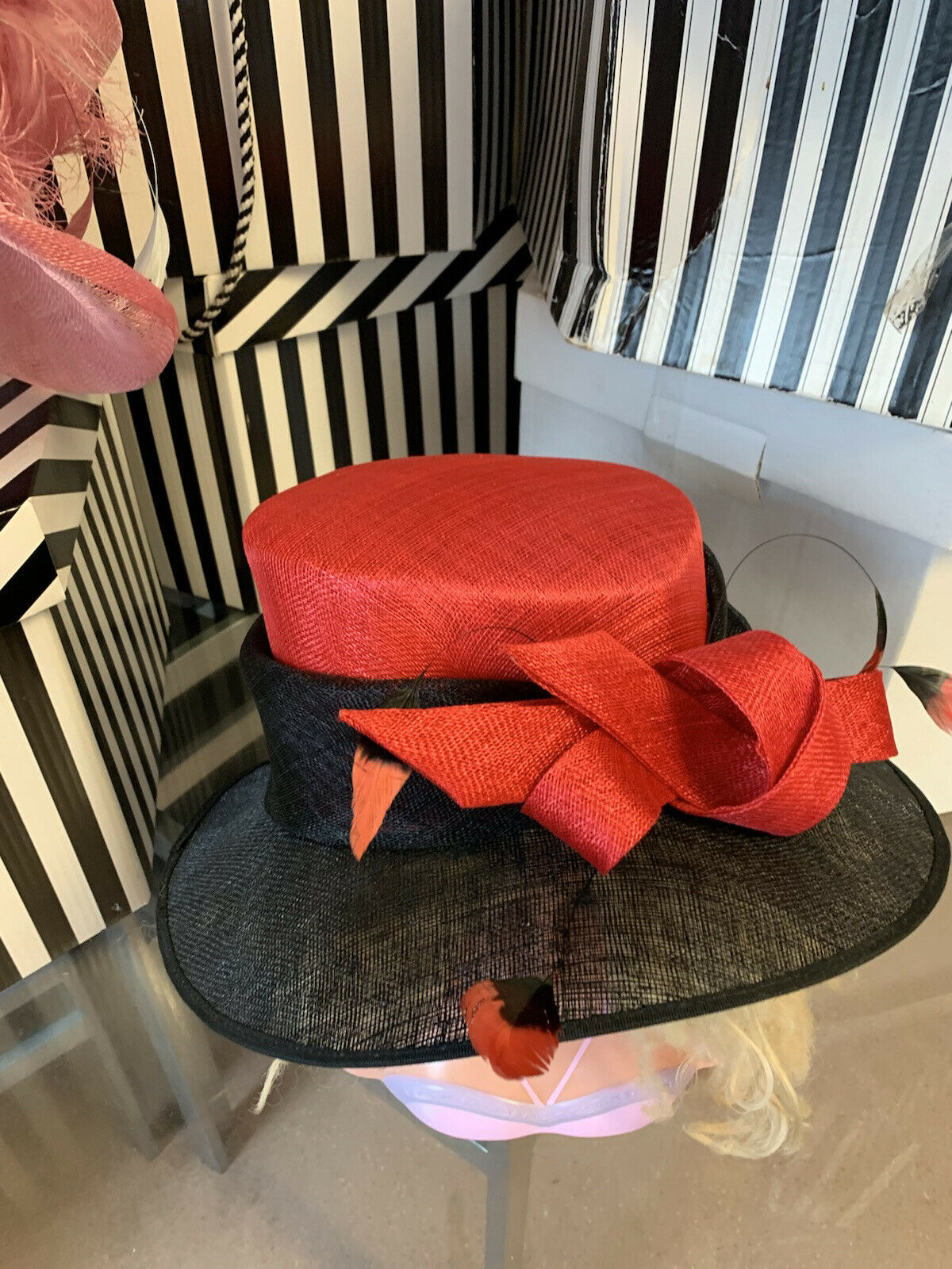 Exclusive Black &RED Designer Millinery by Hat Couture Wedding/ Ascot RRP