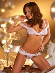 4a6279d9a65ad 3148J Knit Chiffon Off Shoulder Shirred Open Cup Bra Thong Set ...