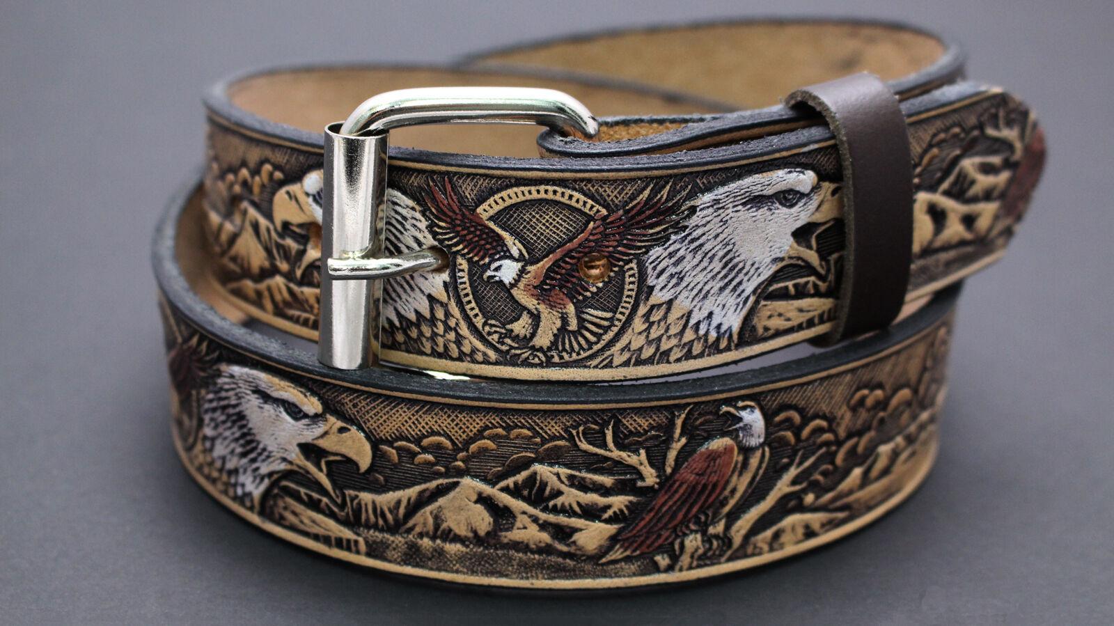 Eagle Embossed Hide LEATHER Press Stud buckle Belt BLACK 0591