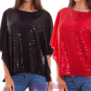 Maglia-donna-maglietta-lustrini-velata-maniche-corte-ruches-party-nuova-CJ-2376