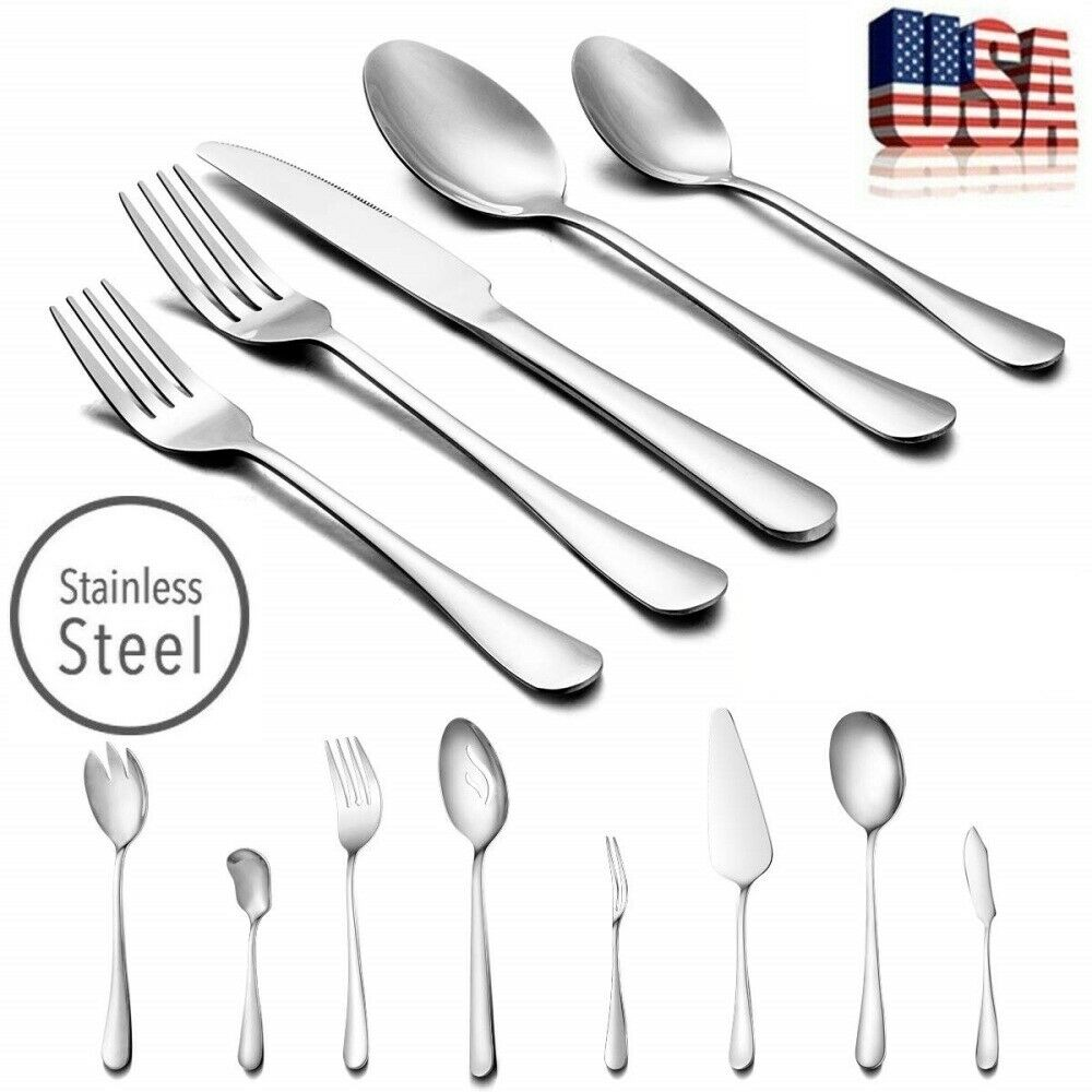 Stainless 45pc Serving for 8 NEW Lorena Flatware XAN 45-piece Silverware Set