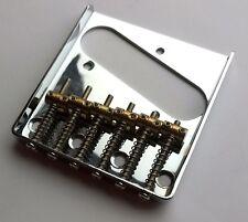 6 saddle vintage Tele ashtray Bridge for Telecaster: Chrome: six brass saddles