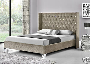 Image Is Loading Wing Back Bed Frame Upholstered Fabric Velvet Chenille