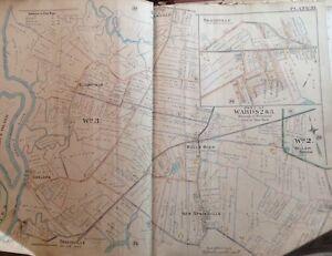 1898 STATEN ISLAND NY DOUGAN HILLS MORAVIAN CEMETERY VANDERBILT MAUS ATLAS MAP