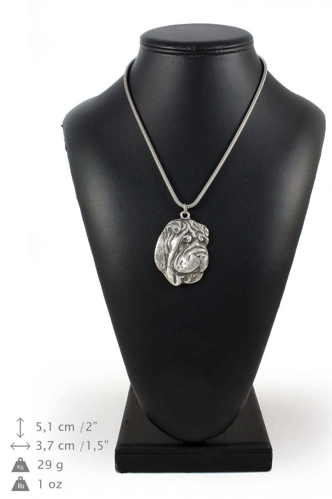 Shar Pei - argento plaqué collier sur une cordon en argento Art Dog FR
