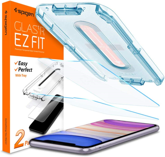 Spigen Tempered Glass Screen Protector Designed for iPhone XR Installation Kit 2 Pack
