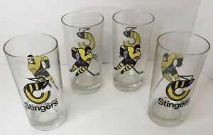Cincinnati Stingers Set Of 4 Tumbler Glasses RARE WHA Hockey 70's Vintage