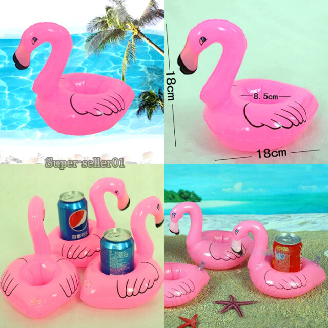 Top Mini Cute Red Flamingo Floating Inflatable Drink Holder Pool Bath Toy New