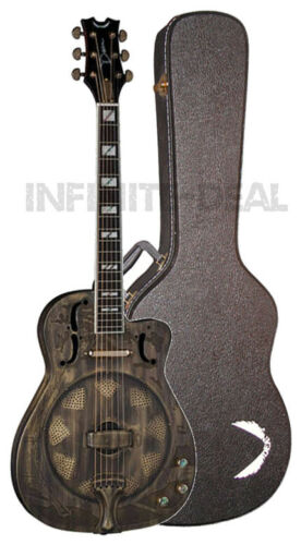 Dean RESCEHB Thin Body Acoustic//Electric Resonator Guitar Brass Plated w// Case