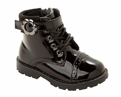 GIRLS BLACK PATENT LACE UP HIGH ANKLE DESERT BOOTS WITH ZIP INFANTS UK SIZE 6-12