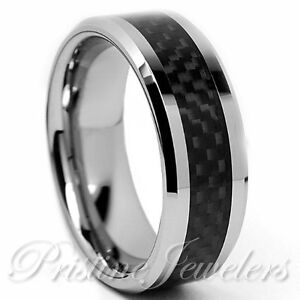 Tungsten-Carbide-Black-Carbon-Fiber-Ring-Silver-Mens-Engagement-Wedding-Band