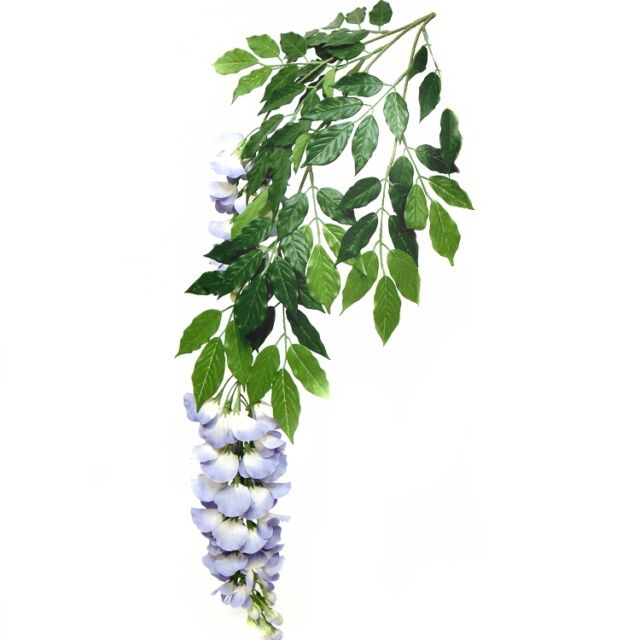 Artificial Wisteria Branch/Foliage with Blue Flowers x 3 - Decorative Plant