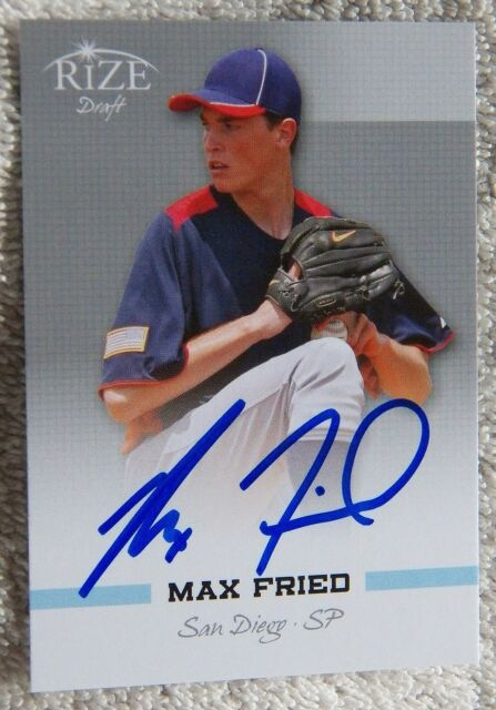 San Diego Padres Max Fried Signed 2012 Leaf Rize Draft Card Auto