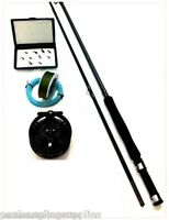 Fly Fishing Kit Rod Reel Flies Box Floating Line Backing Leader 2 Section Rod