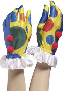 Clown Fancy Dress Gloves Costume Accessory Circus Halloween Multicoloured Fun