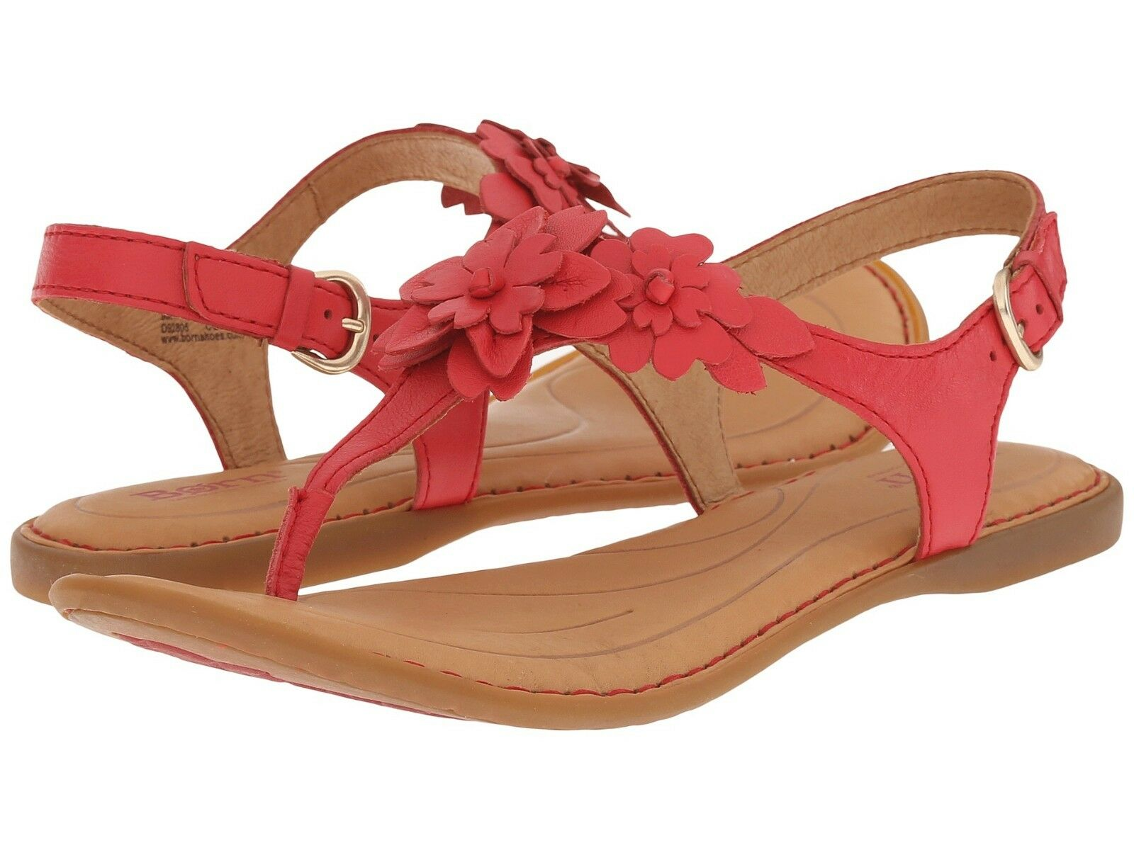 NEW Born D Anna Floral T-Strap Sandal in Red Leather, Women Size 5