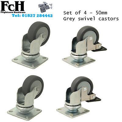 Flight Case / Speaker Cab Castors, Swivel GREY Castor Kit 50mm (Set of 4)
