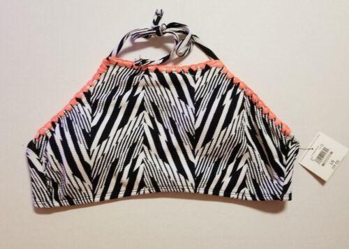 Ocean Pacific OP Hi-Neck Bikini SEPARATES BLACK//WHITE Chevron Jacquard S M L XL