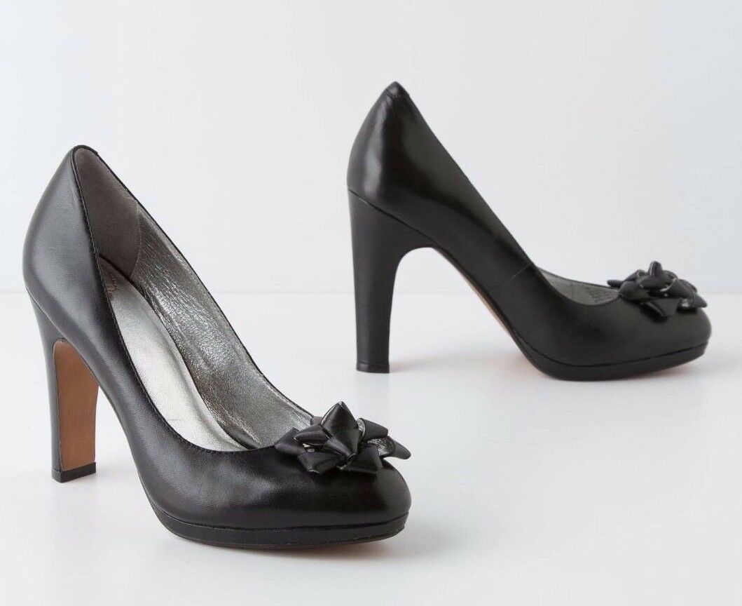 ANTHROPOLOGIE SHOES GIFT TRIMMED PUMPS MISS ALBRIGHT BLACK LEATHER 8 $168