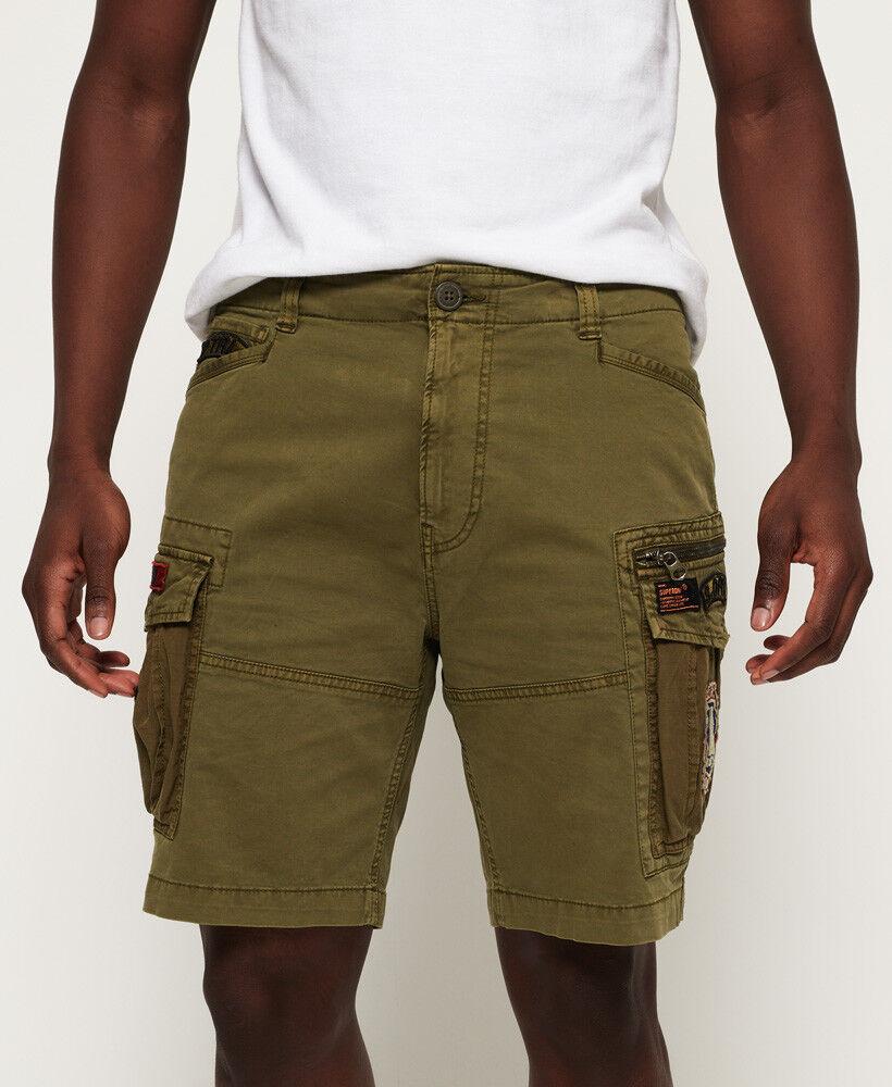 SUPERDRY Bermudas Shorts Militar-Grun mit Patch 6 taschen Neue 2018