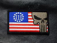 Three 3% Percenter Punisher 2nd Amendment Nra Militia Hook Patch
