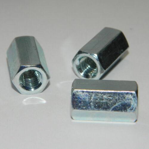 100 Stk DIN6334 Verlängerungsmutter M6x18 Stahl verz